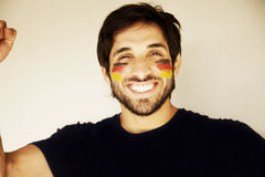 Happy man with German flag Stock Image