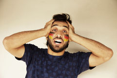 Happy man with German flag Stock Images