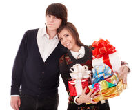 Happy man and girl with gift box. Royalty Free Stock Photos
