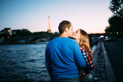 Happy man and girl in Paris Stock Photography
