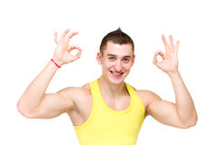 Happy man giving okay sign Stock Images