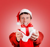 Happy man is giving presents Royalty Free Stock Photography