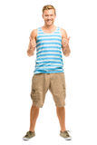 Happy man giving thumbs up sign - full length portrait on white Royalty Free Stock Photo