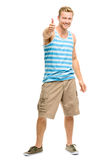 Happy man giving thumbs up sign - full length portrait on white Royalty Free Stock Photos