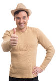 Happy man giving thumbs up sign Royalty Free Stock Photo