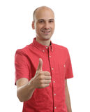 Happy man giving thumbs up sign Royalty Free Stock Image