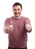 Happy man giving thumbs up sign Royalty Free Stock Images