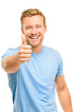 Happy man giving thumbs up sign - portrait on white background Stock Image