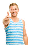 Happy man giving thumbs up sign - portrait on white background Royalty Free Stock Images