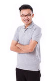 Happy man with glasses and grey shirt Stock Photo