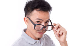 Happy man with glasses looking at you Royalty Free Stock Photography