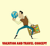 Happy man going to vacation royalty free illustration