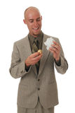 Happy man with a golden egg Royalty Free Stock Photography