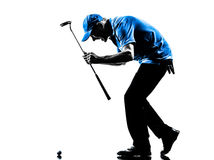 Happy man golfer golfing silhouette. One man golfer golfing happy in silhouette studio isolated on white background stock photos