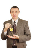 Happy man got a key of new housing Stock Photo