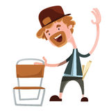 Happy man grabing chair  illustration cartoon character. Enjoy Stock Images