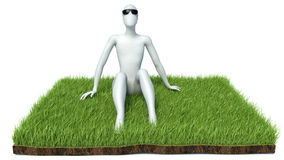 Happy man on grass. Isolated 3D image Royalty Free Stock Photo