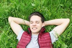 Happy man on the grass Stock Photo