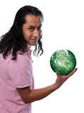 Happy man with green earth Stock Photo