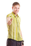 Happy man in green shirt Royalty Free Stock Images
