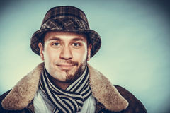 Happy man with half shaved face beard hair in hat. Royalty Free Stock Photos