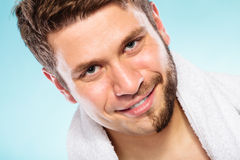 Happy man with half shaved face beard hair. Royalty Free Stock Photography