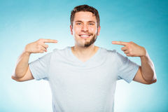 Happy man with half shaved face beard hair. Stock Photo