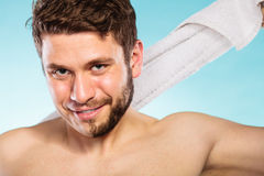 Happy man with half shaved face beard hair. Royalty Free Stock Photos