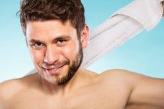 Happy man with half shaved face beard hair. Royalty Free Stock Photos