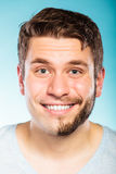 Happy man with half shaved face beard hair. Royalty Free Stock Photo