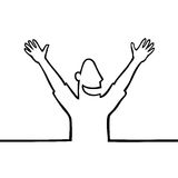Happy man with hands in the air. Black line art illustration of a happy person with open arms Stock Photos