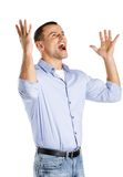 Happy man with hands up Stock Image