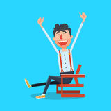 Happy man with hands up cartoon vector Royalty Free Stock Image
