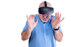 Happy man with hands up screaming Royalty Free Stock Photo