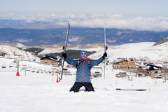 Happy man happy in snow mountains at Sierra Nevada ski resort in Spain Stock Photography