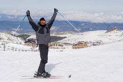 Happy man happy in snow mountains at Sierrna Nevada ski resort in Spain Stock Photos