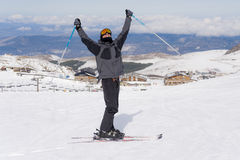 Happy man happy in snow mountains at Sierrna Nevada ski resort in Spain Royalty Free Stock Images