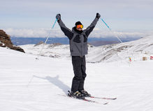 Happy man happy in snow mountains at Sierrna Nevada ski resort in Spain Stock Image