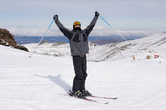 Happy man happy in snow mountains at Sierrna Nevada ski resort in Spain Stock Photography