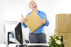 Happy man has first day of work Royalty Free Stock Photos