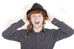 Happy man with hat Stock Photo