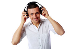 Happy man with headphones Stock Image