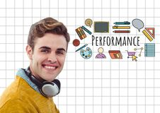 Happy man with headphones and Performance text with drawings graphics Stock Photos