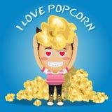 Happy man and heap of popcorn Stock Photo