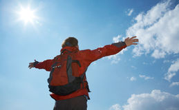 Happy man hiker holding his arms Royalty Free Stock Image