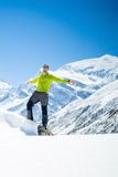 Happy man hiker winter in mountains Stock Photos