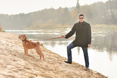 Happy man and his dog in autumn Royalty Free Stock Photo