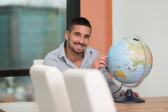 Happy Man With His Global Stock Photo