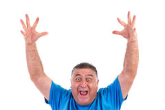 Happy man with his hands up Royalty Free Stock Photos