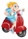 Happy man on his moped. Illustration of a happy man driving fast on his red moped Stock Photos